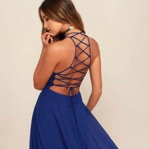 EUC Lulus Royal Blue Maxi Dress